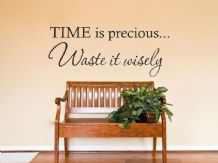 "Wall Quote ""Time Is Precious..."" Wall Art Sticker, Vinyl Decal, Transfer."